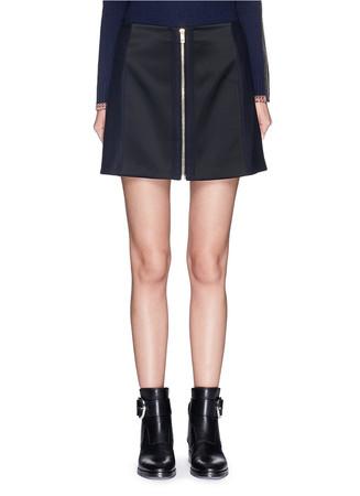 'Nettie' felt panel sateen zip-up skirt