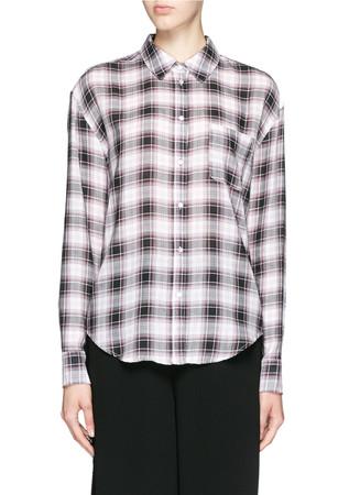'New Carine' plaid print cotton voile shirt