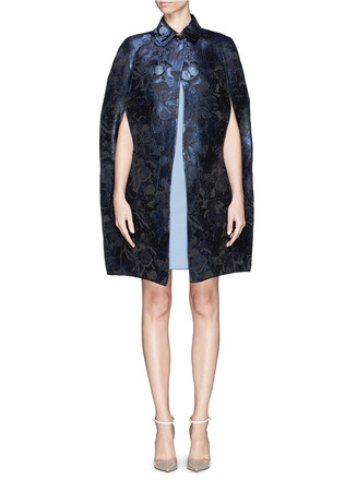 'Night Camubutterfly' buckle neck brocade cape coat