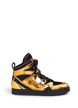 'Ninja' metallic leather mesh high top sneakers