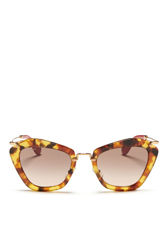 'Noir' shell effect acetate cat eye sunglasses