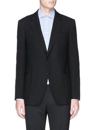 Notch lapel bouclé wool blazer