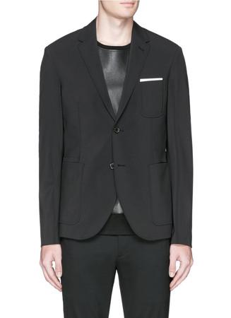 Notch lapel techno stretch blazer