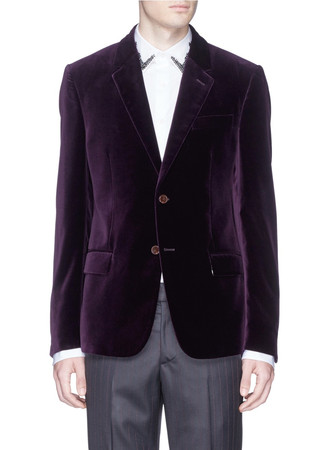 Notch lapel velvet blazer