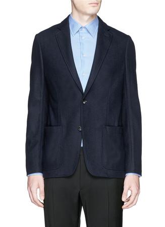 Notch lapel wool-cashmere blazer