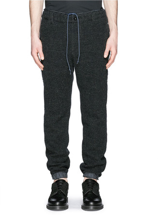 Nylon elastic cuff tweed jogging pants