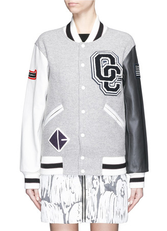 'OC' leather sleeve classic varsity jacket