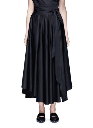 Obi sash pleat poplin skirt