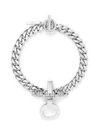 'Obsedia' pearl strass curb chain necklace