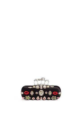 Obsession charm crystal embroidered satin knuckle clutch