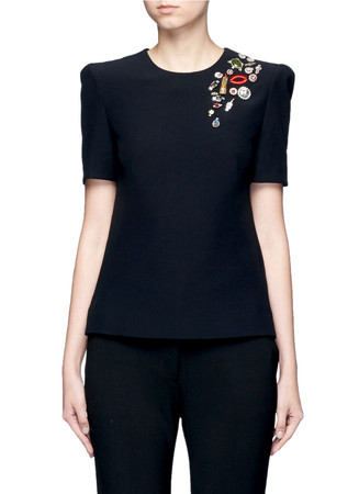 'Obsession' embroidered lips jewelled crepe top