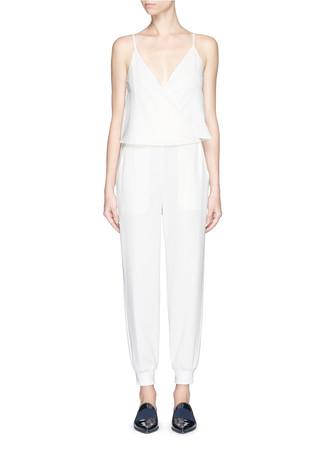 'Odila' rib cuff surplice front crepe jumpsuit