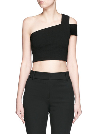 One-shoulder stretch crepe cropped top