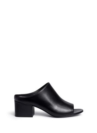 Open toe calfskin leather mules