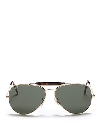 'Outdoorsman II' tortoiseshell brow bar aviator sunglasses