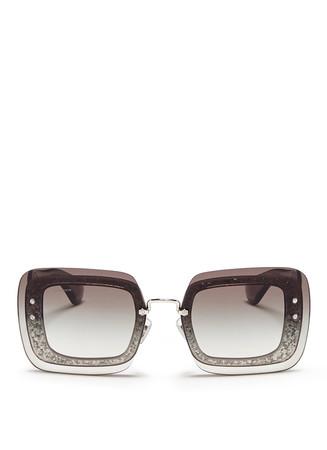 Oversize lens glitter square acetate sunglasses