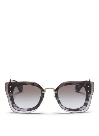 Oversize lens tortoiseshell square acetate sunglasses
