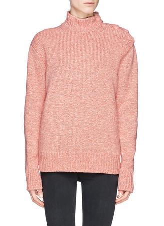 Oversize plait shoulder marl wool blend sweater