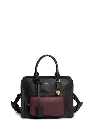 'Padlock' contrast pocket leather tote