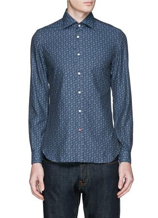 Paisley print denim effect shirt