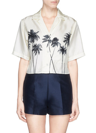 'Palm' tree print silk shirt