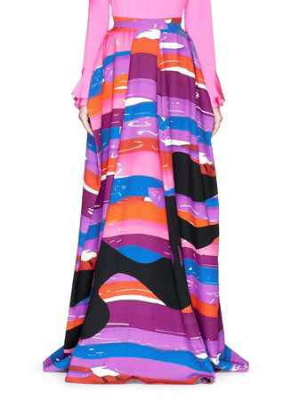 'Palyns' abstract print silk-wool skirt