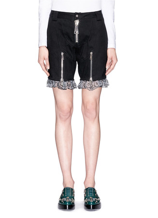 Panda embroidery lace hem twill shorts