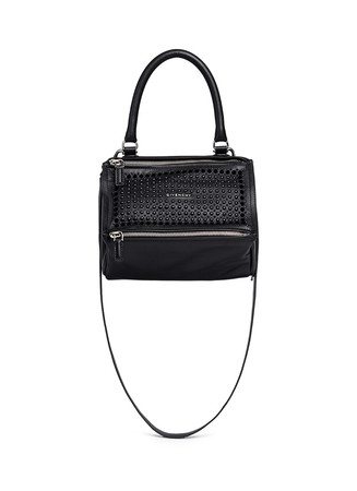 'Pandora' small velvet stud leather bag
