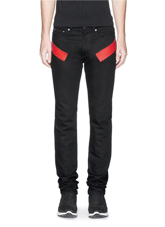 Panel trim cotton jeans