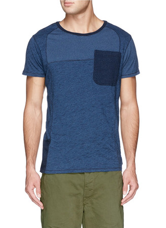 Patchwork cotton slub jersey T-shirt