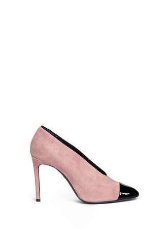 Patent toe cap U-throat suede pumps
