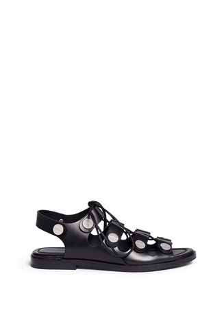 'Patricia' rivet lace-up leather flat sandals