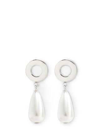 'Pearl Pendant' brass magnetic earrings