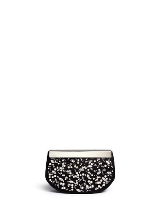 Pearl crystal embellished suede clutch