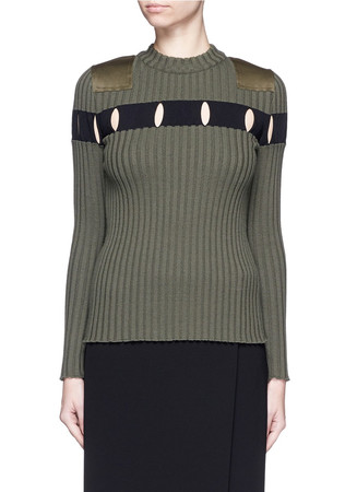 Perforated stripe military wool sweater