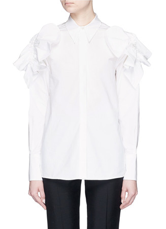 Petal appliqué cotton poplin shirt