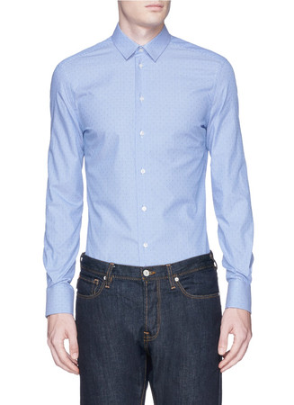 Pinstripe dot cotton poplin shirt