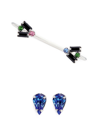 'Pixel Perfect' crystal stud and cuff earring set