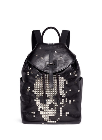 Pixel skull stud leather backpack
