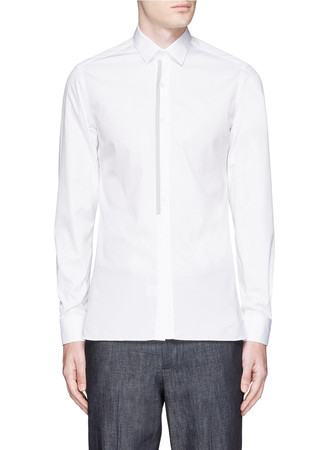 Placket trim poplin shirt