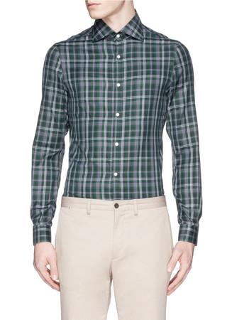 Plaid print cotton twill shirt