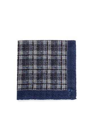 Plaid wool pocket square