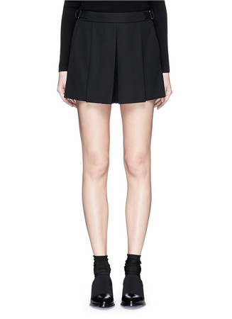 Pleat front tailored wool crepe shorts
