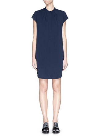 Pleat neck twill tunic dress