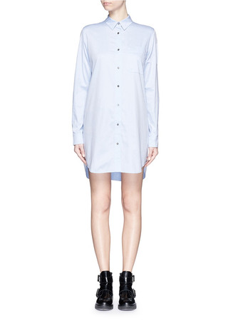 Point collar cotton poplin shirt dress