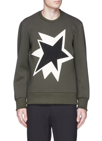 Pop art star appliqué bonded jersey sweatshirt