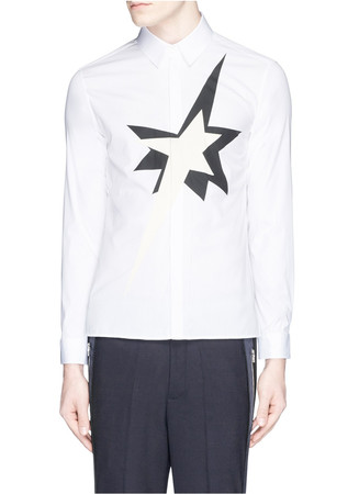 Pop art star appliqué cotton poplin shirt