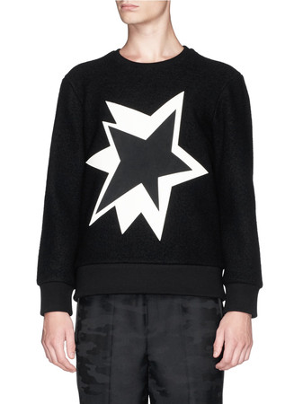 Pop art star appliqué wool bouclé sweatshirt