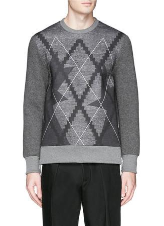 Pop art star argyle print bonded jersey sweatshirt