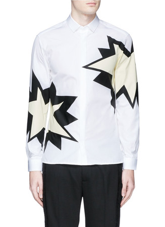 Pop art star print cotton poplin shirt